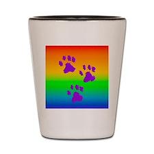 neck oval paws rainbow Shot Glass
