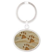 necklace round paws sand Oval Keychain