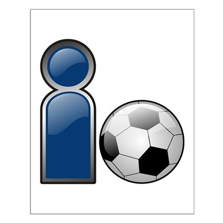 I Play Soccer - Blue Small Poster