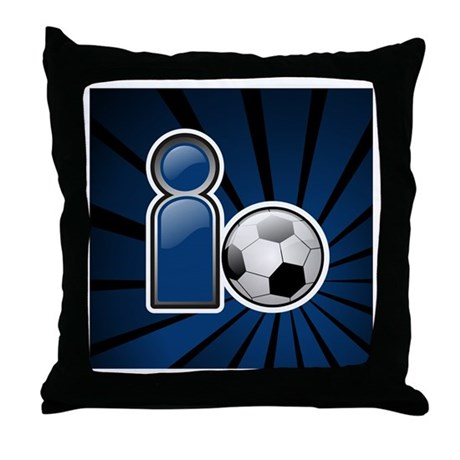 I Play Soccer - Blue Throw Pillow