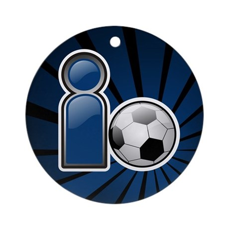 I Play Soccer - Blue Ornament (Round)