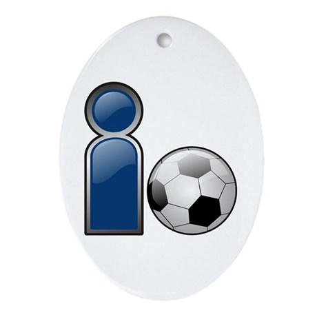 I Play Soccer - Blue Oval Ornament