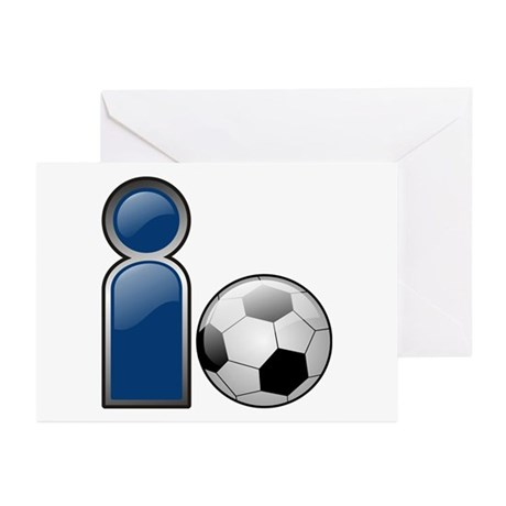 I Play Soccer - Blue Greeting Cards (Pk of 10)