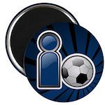 """I Play Soccer - Blue 2.25"""" Magnet (100 pack)"""