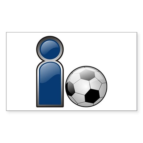 I Play Soccer - Blue Rectangle Sticker