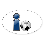 I Play Soccer - Blue Oval Sticker