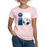 I Play Soccer - Blue Women's Pink T-Shirt