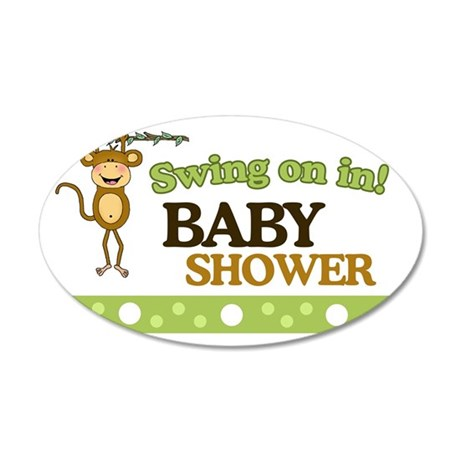 Monkey Baby Shower Yard sign 35x21 Oval Wall Decal