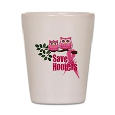 save the hooters2 Shot Glass