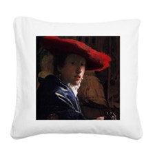 Girl With a Red Hat Square Canvas Pillow