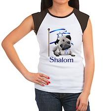 Shalom Pug with Israeli Flag T-Shirt