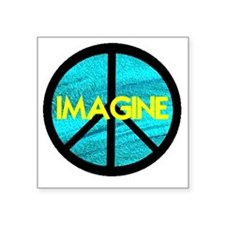 "IMAGINE with PEACE SYMBOL Square Sticker 3"" x 3"""