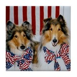 Patriotic Collies Tile Coaster