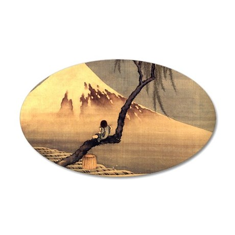 Boy in front of Fujiama.shir 35x21 Oval Wall Decal