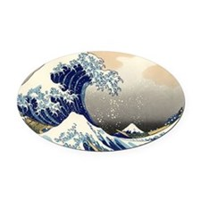 great-wave.57 Oval Car Magnet