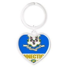 Connecticut (Flag 10) Heart Keychain