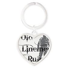 old linemen rule 2 Heart Keychain