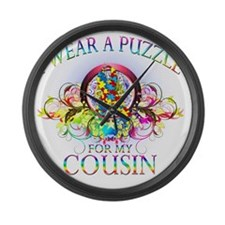 I Wear A Puzzle for my Cousin (fl Large Wall Clock