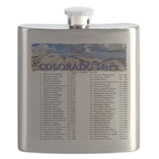 CO 14ers List T-Shirt NO BKGRND Flask