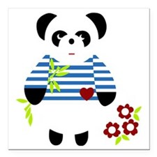 "Little Panda Square Car Magnet 3"" x 3"""