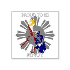 "proud-pinoy-dark-sun Square Sticker 3"" x 3"""