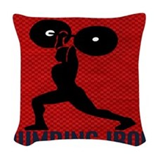pumping_iron_10by10_red Woven Throw Pillow