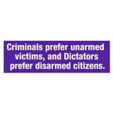 Criminals & Dictators Bumper Car Sticker