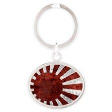 Japanese Land Rising Sun Sticker Oval Keychain
