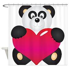 Panda with Heart Shower Curtain