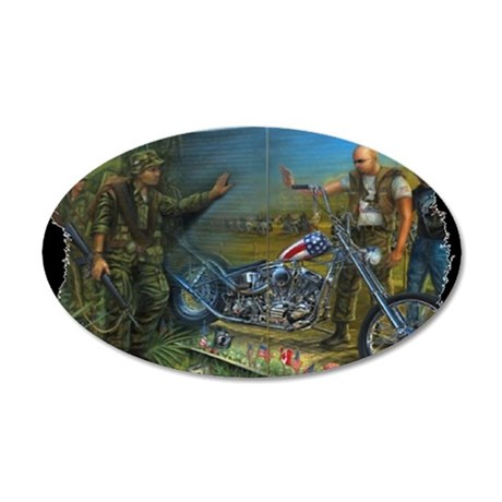 BIKER AT THE WALL 35x21 Oval Wall Decal
