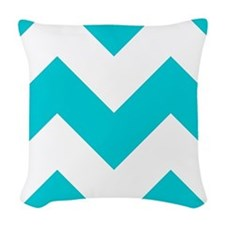 Aqua Chevron Pattern Woven Throw Pillow