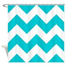 Aqua Chevron Pattern Shower Curtain