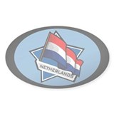 &quot;Netherlands Star Flag&quot; Oval Decal