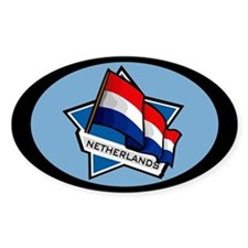 """Netherlands Star Flag"" Oval Decal"