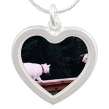 DeMotivational - Here kitty  Silver Heart Necklace