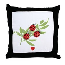 Lucky Bugs on Leaf Japan 2 Throw Pillow
