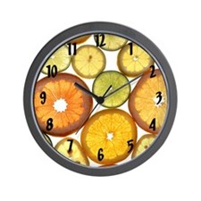 Citrus_Fruit_Slices_Large_Clock_Black_L Wall Clock