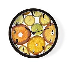 Citrus_Fruit_Slices_Large_Clock_Black_L Wall Clock