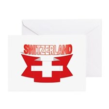 Swiss flag ribbon Greeting Cards (Pk of 10)