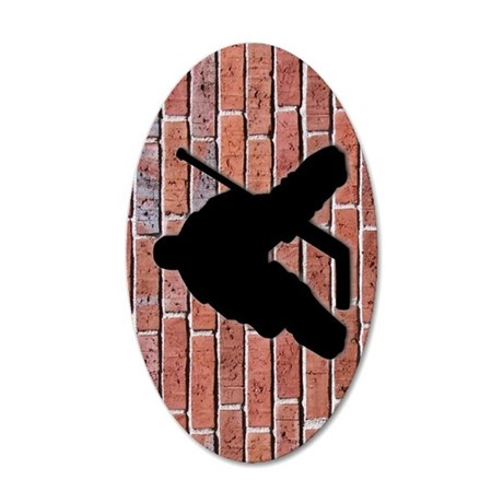 Brick Wall Hockey Goalie 35x21 Oval Wall Decal