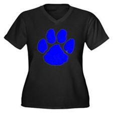 pawprint Women's Plus Size Dark V-Neck T-Shirt