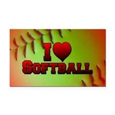 Optic Yellow I Love Softball Rectangle Car Magnet