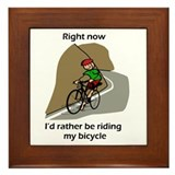 right now riding bicycle Framed Tile
