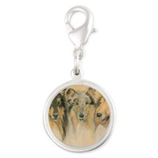 Collie Adults Silver Round Charm