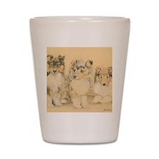 Collie Puppies Shot Glass