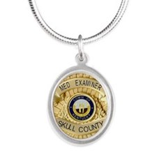 Medical Examiner Silver Oval Necklace