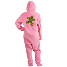 puzzle-v2-green-onblk2 Footed Pajamas