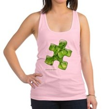puzzle-v2-green-onblk2 Racerback Tank Top