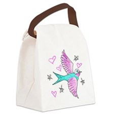 Sketchy Swallow Canvas Lunch Bag