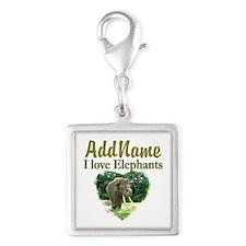 LOVE ELEPHANTS Silver Square Charm